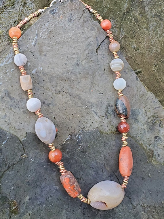 Ancient Agate and Carnelians beads and mixed metal heishi