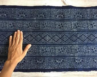 H433 Hand woven Hmong hemp batik fabric natural indigo by the meter