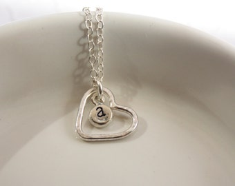 Hand Stamped Necklace, Tiny Initial Necklace, Personalized Necklace, Heart Charm