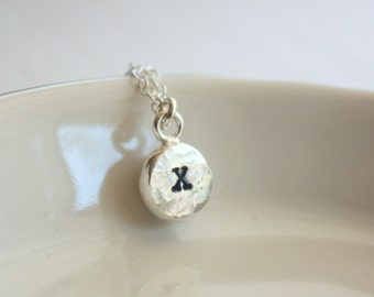 Personalized Necklace , Silver Initial Necklace , Silver Letter Charm Necklace , Hand Stamped Necklace