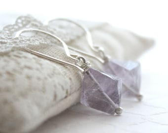 Fluorite Gemstone Earrings , Sterling Silver Drop Earrings , Lavender Purple