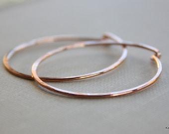 Simple Copper Hoop Earrings , Round Hammered Hoops , Handcrafted , 18 Gauge , Handmade Jewelry