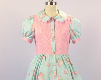 Lolita Fashion - Dorothy of Oz OP One Piece - Blue Floral w/ Pink Polka dot Cotton Print - Size L 8 - 10