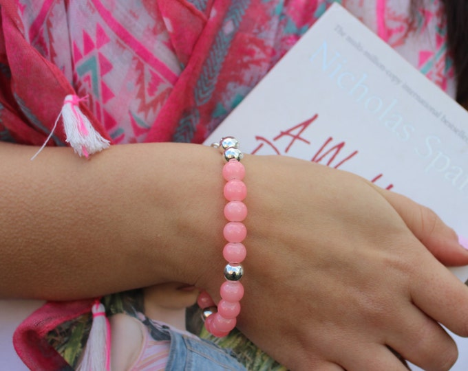 Silver and Pink Beaded Bracelet.