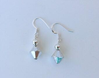 Simple Silver Drop Earrings.