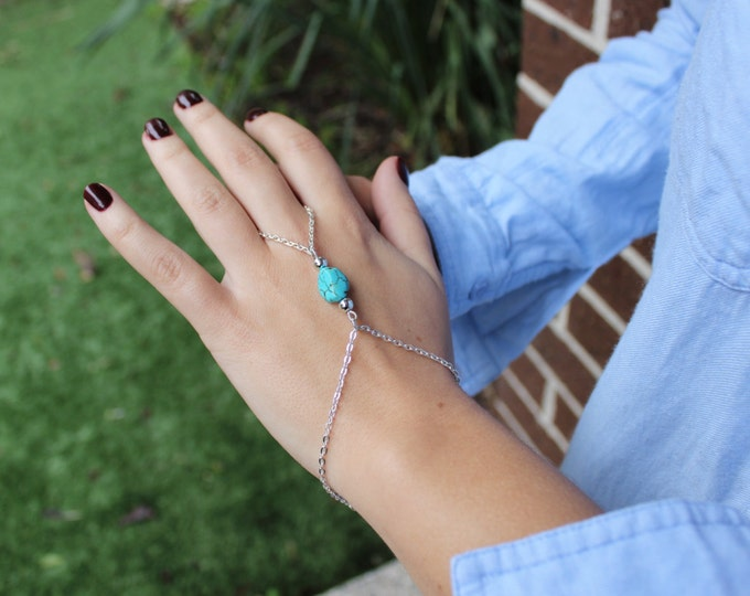 Turquoise Hand Chain, Gold or Silver Base.