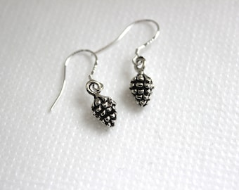 Tiny Silver Pinecone Earrings.