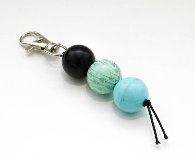 Black, Green and Blue Bauble Beaded Keychain | Zip Pull.