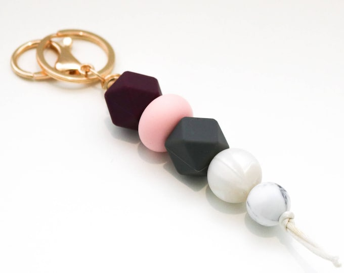 Plum, Pink and Grey Silicone Beaded Sensory Keychain