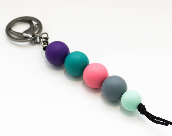 Purple, Green, Pink and Mint Beaded Silicone Sensory Keychain or Zip Pull.