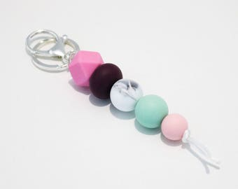 Pink, Plum and Mint Beaded Silicone Sensory Keychain.