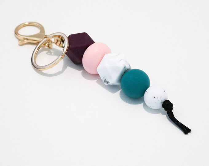Plum, Pink and Green Beaded Silicone Sensory Keychain.