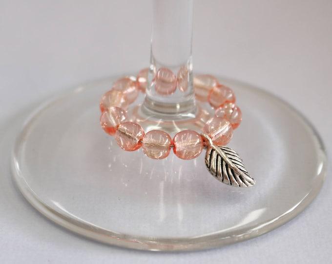 Peachy Keen Leaf Wineglass Marker.