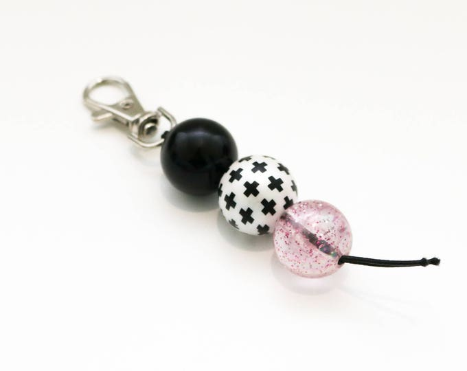 Black, White and Pink Bauble Beaded Keychain | Zip Pull.