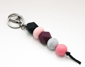 PRE ORDER - will send after April 28th - Black, Pink and Purple Beaded Silicone Sensory Keychain or Zip Pull.