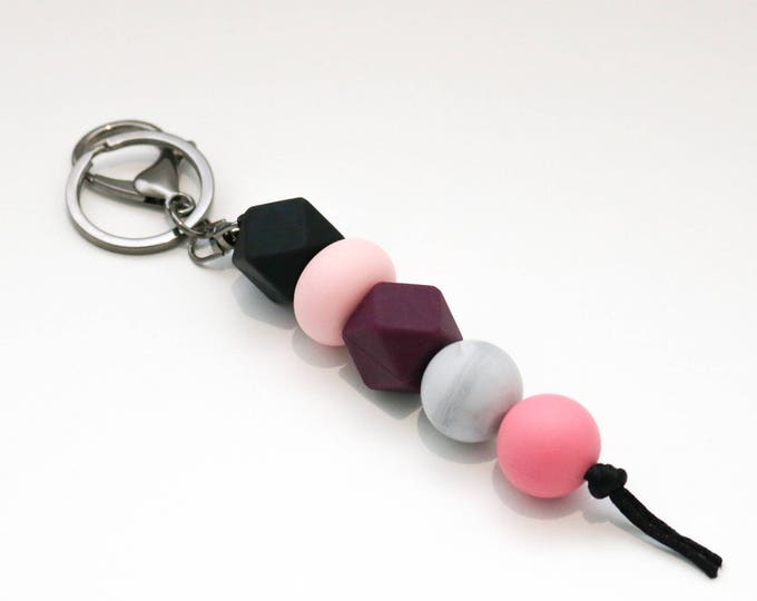 Black, Pink and Purple Beaded Silicone Sensory Keychain or Zip Pull.