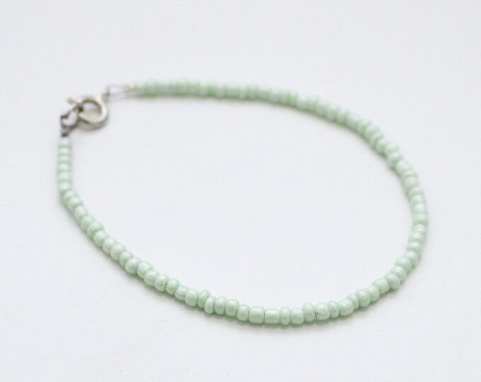 Green seed bead bracelet.