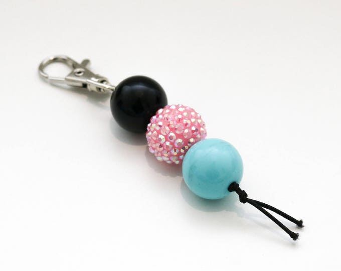 Black, Pink and Blue Bauble Beaded Keychain | Zip Pull.