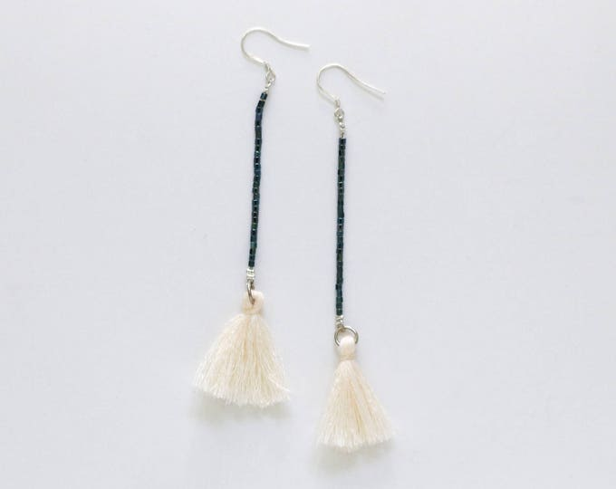 Gatsby Theme Seed bead and tassel statement earrings | Long earrings.