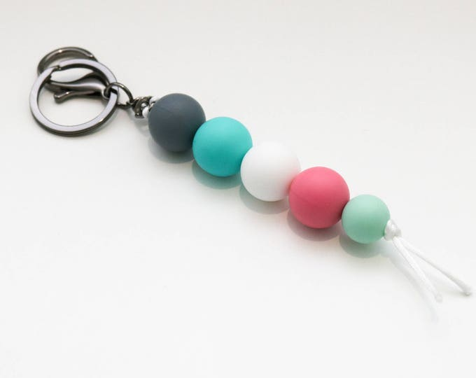 Grey, Green, Pink and White Beaded Silicone Sensory Keychain or Zip Pull.
