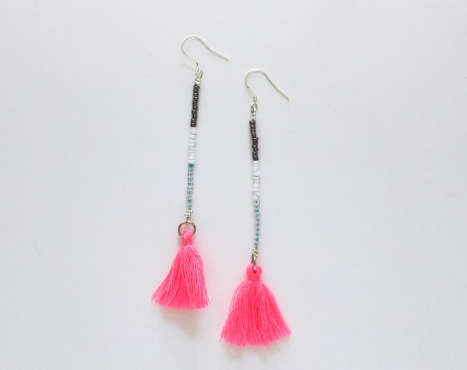 Blue and Pink Seed bead and tassel statement earrings | Long earrings.