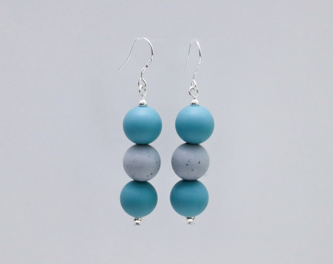 Mini Silicone Beaded Drop Earrings in Ocean Teal and Grey Granite.