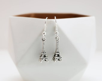 Silver Eiffel Tower Earrings.