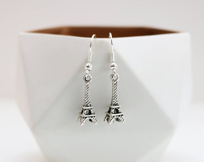 Silver Eiffel Tower Earrings.