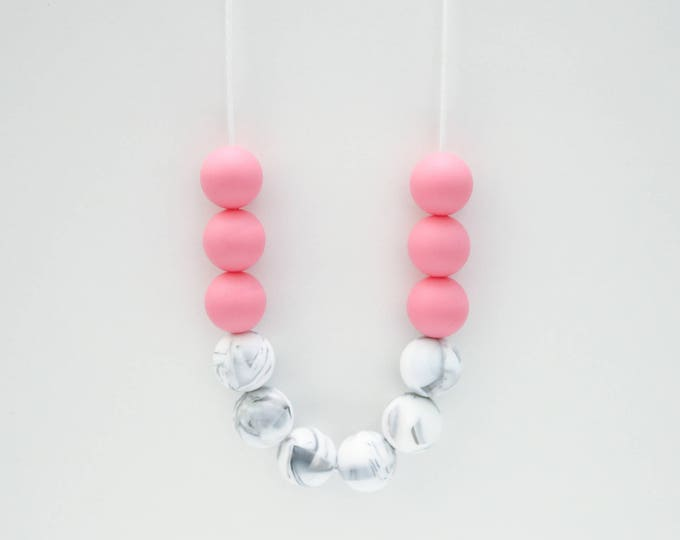 Layla Silicone Beaded Sensory Marble and Pink Necklace.