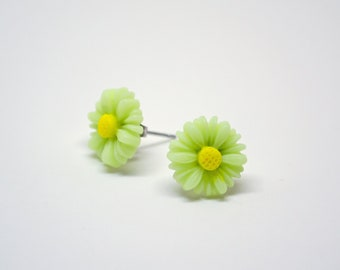 SALE Light Green Lime Daisy Post Stud Earrings.