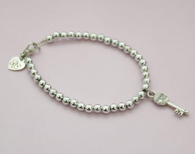 Silver Beaded Key Bracelet   21st Gift   Housewarming gift.