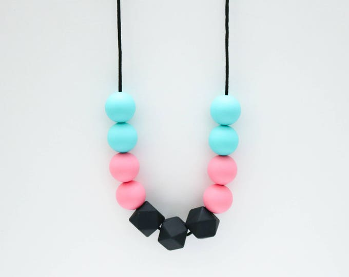 Penelope Silicone Beaded Pink, Black and Blue Necklace.