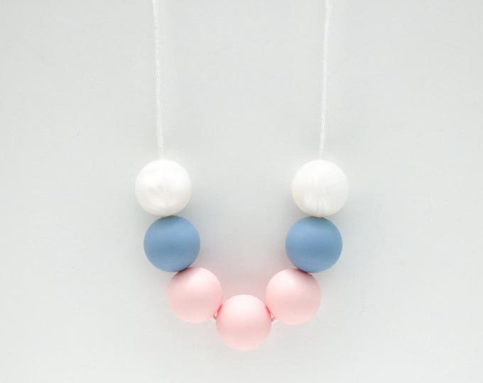 Pearl Silicone Beaded Sensory Pastel Necklace.