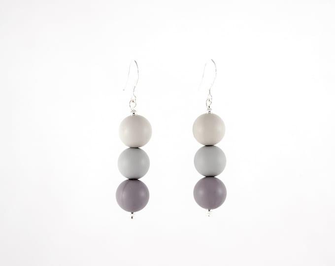Mini Silicone Beaded Drop Earrings in three tones of Grey.