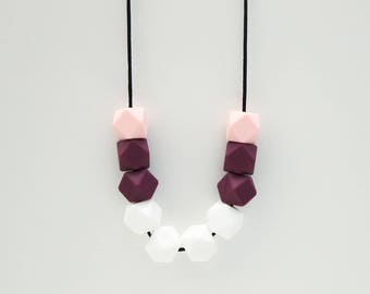 Ally Silicone Beaded Pink, Plum and White Necklace | Mum Necklace.