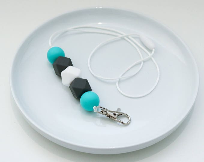 Silicone Beaded Lanyard | Work Present | Turquoise and Grey.