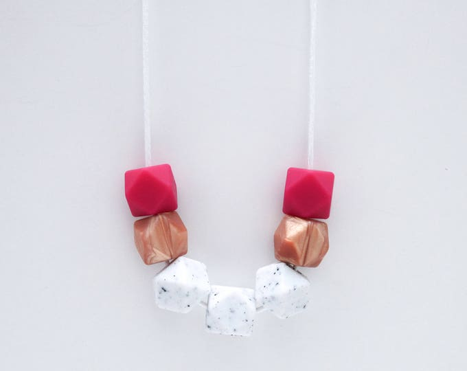 Kiko Silicone Beaded Plum, Rose Gold and White Necklace.