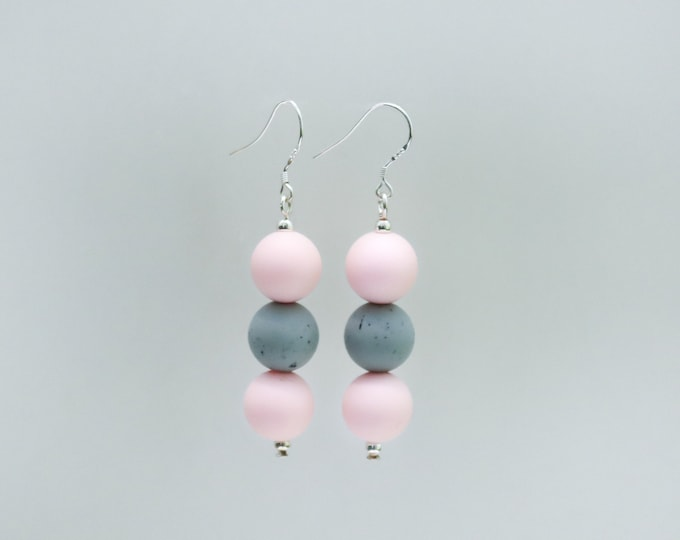 Mini Silicone Beaded Drop Earrings in Pink and Grey.