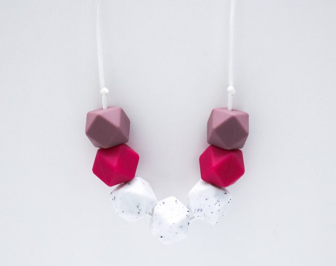 Elora Silicone Beaded Pink, Granite and Plum Necklace.
