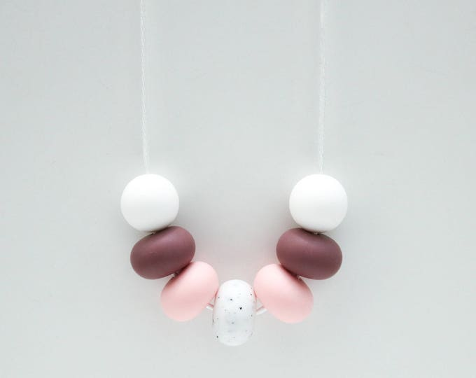 Nephelle Silicone Beaded Pink, Plum and White Necklace.