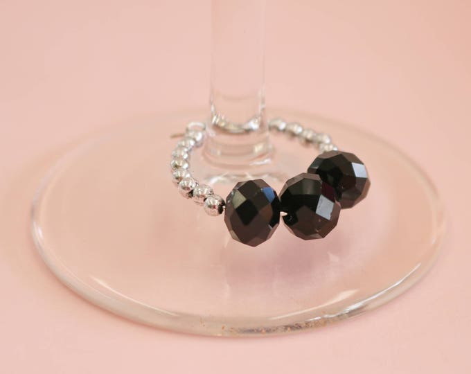 Wine Glass Marker/ Wine Glass Charm in Black.