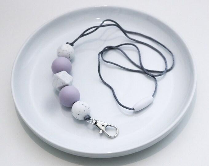 Silicone Beaded Lanyard   Teacher Gift   Serena Spring - Lavender