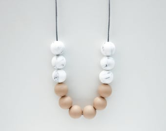 Tilly Silicone Beaded Sensory Marble and Tan Necklace.