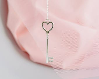 Silver Heart Key Necklace | Housewarming gift | Keys to my heart | Moving in day gift.