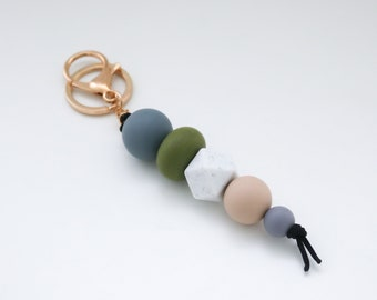 Khaki & Grey Beaded Silicone Sensory Keychain or Zip Pull.