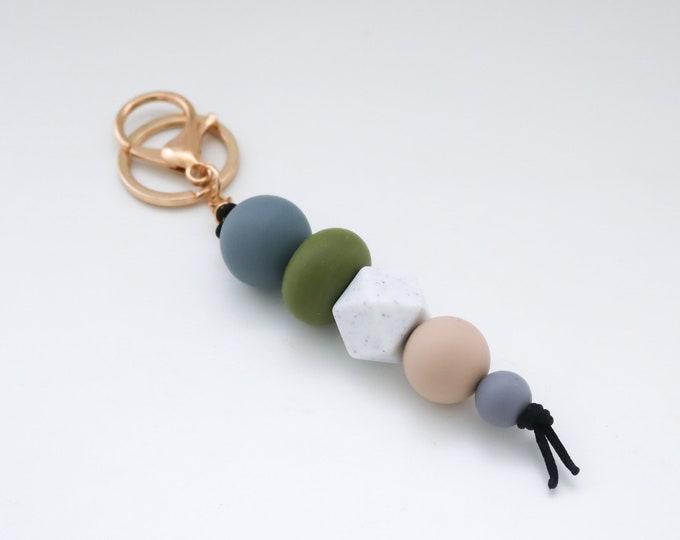 Khaki & Grey Beaded Silicone Sensory Keychain or Zip Pull.