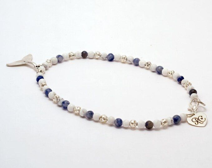 Whale Tale Blue and Silver Beaded Anklet.