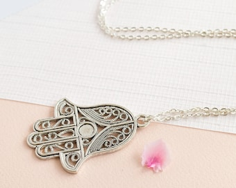 Extra Large Hamsa Hand Charm Necklace.