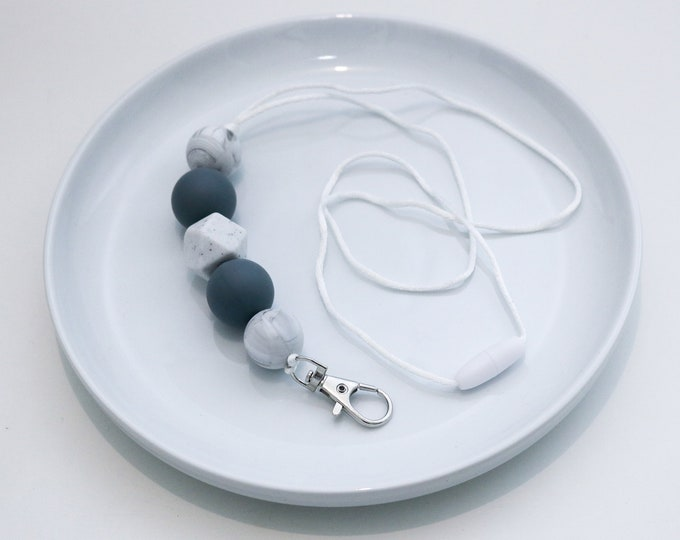 Silicone Beaded Lanyard | Teacher Gift | Grey and White.