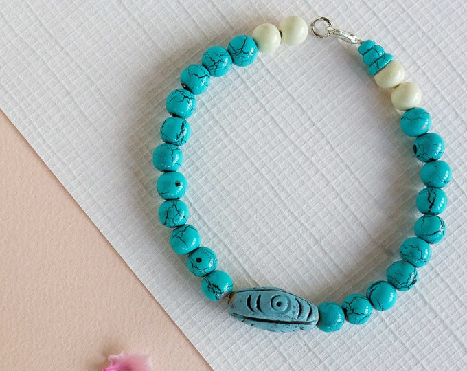 Beach babe wooden turquoise beaded anklet - SMALL